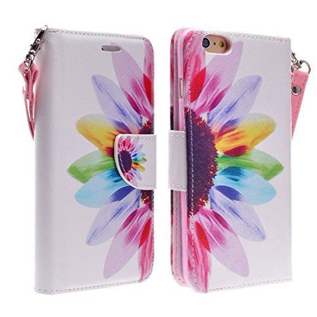 """For Apple iPhone 6 6S 4.7"""" Screen Display - Wydan Hybrid PU Faux Leather TPU Insert Protective Kickstand Credit Card Money Slot Phone Case Cover with Strap Colorful Sunflower"""