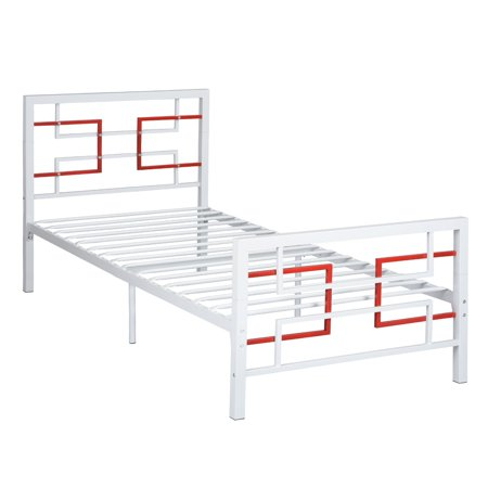Twin Tube Wall (HOMY CASA Twin Metal Bed Frame Single Beds Solid Square Tubes Metal Platform with Headboard and Footboard, White )