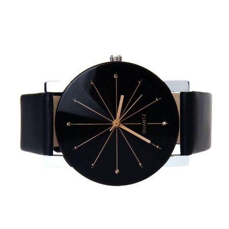 Outtop Men Quartz Dial Clock Leather Wrist Watch Round Case BK