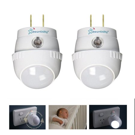 2 Pc Dreambaby Auto Sensor Swivel Night Light 360 Energy Efficient Long Life Led