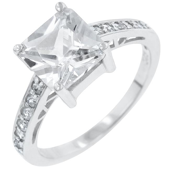 Kate Bissett R07052RS-C01-08 Genuine Rhodium Plated to . 925 Sterling Silver Princess Isabella Ring with Clear CZ Center