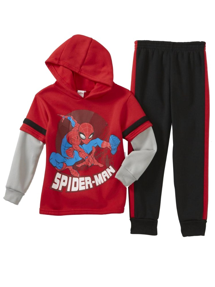 Boys Red & Gray Spiderman Outfit 2 Piece Layered Hoodie & Pants Sweats Set 7