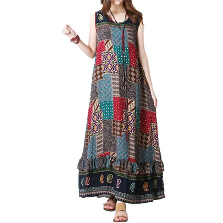 Women Floral Printed Long Dress Sleeveless Ruffle Maxi Tunic Dresses