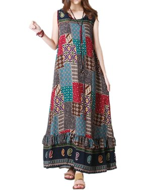 a3528ba8f265 Product Image Women Floral Printed Long Dress Sleeveless Ruffle Maxi Tunic  Dresses