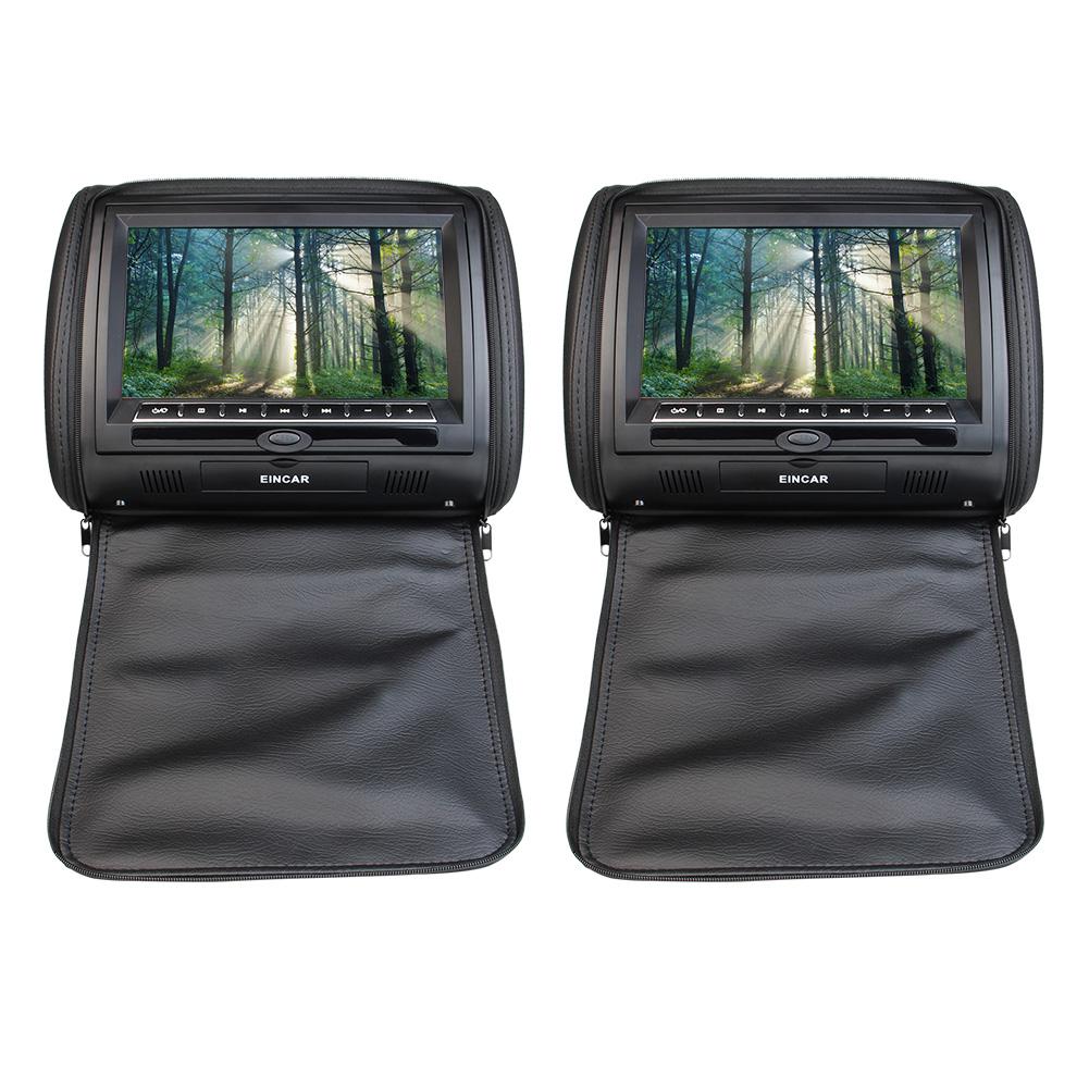 Eincar Black 2x Headrest Pillow Car DVD Player Support IR...