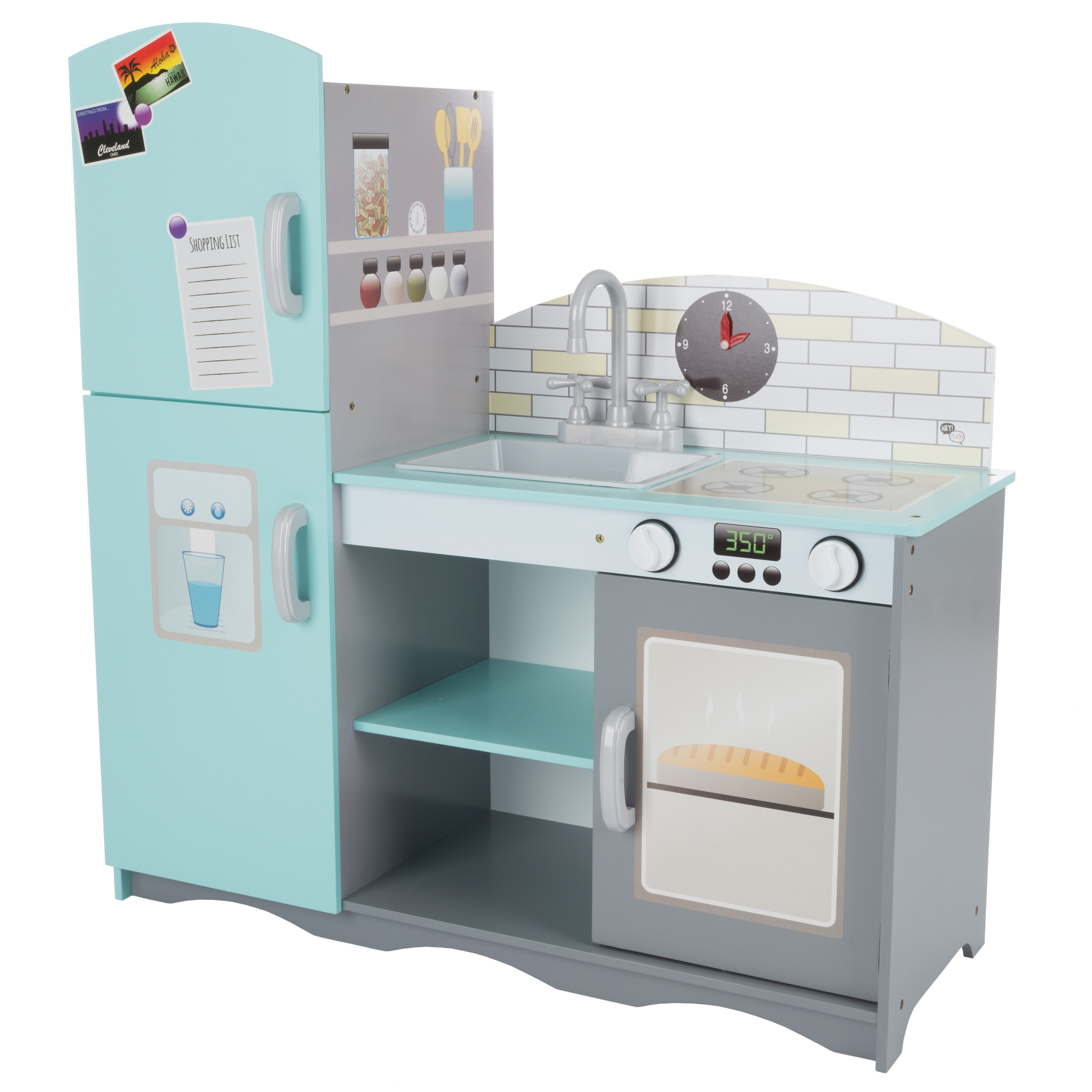 Kids Toy Kitchen Set- Fun Pretend Play Home Kitchen Playset with Oven, Sink, Stove, Refrigerator Freezer and More for Boys and Girls By Hey! Play!