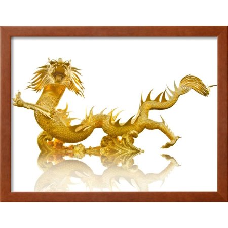 Giant Golden Chinese Dragon Framed Print Wall Art By Gamjai ...