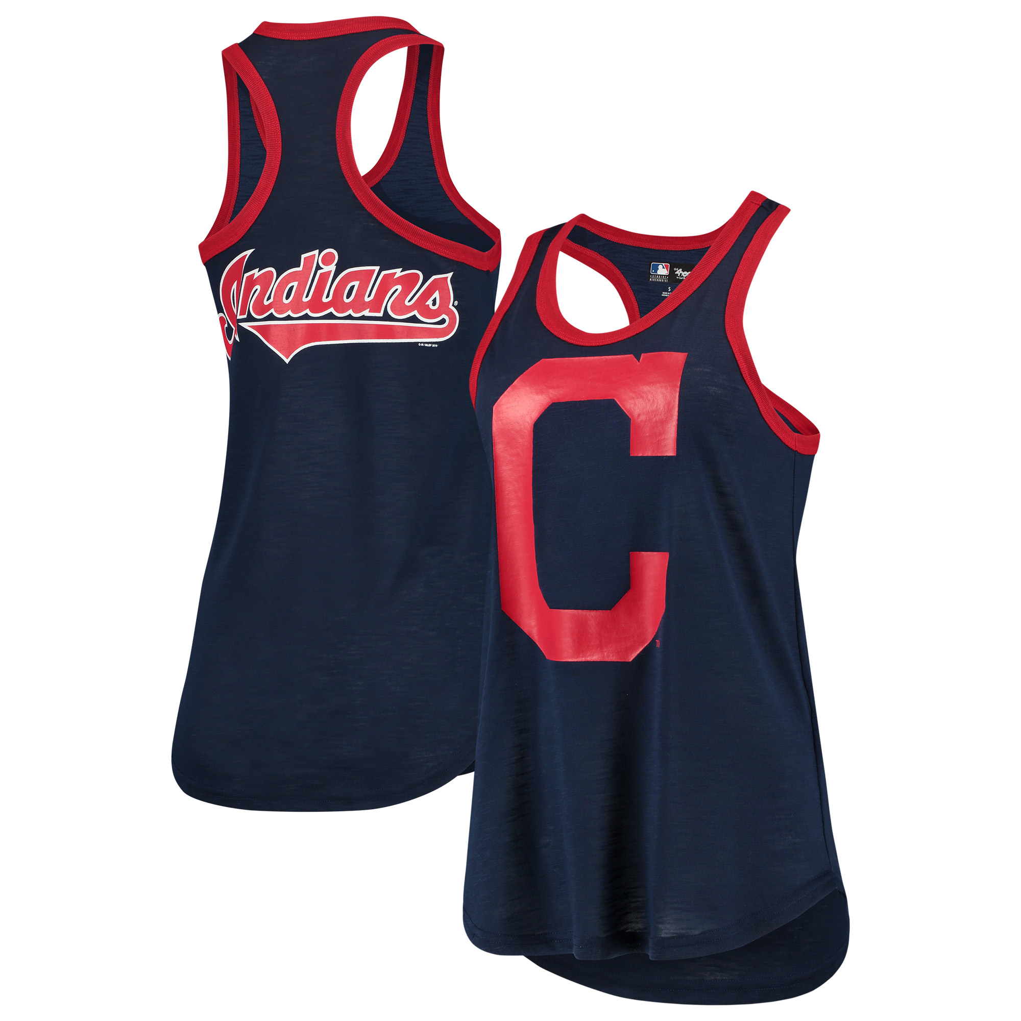 Cleveland Indians G-III 4Her by Carl Banks Women's Team Logo Tater Racerback Tank Top - Navy