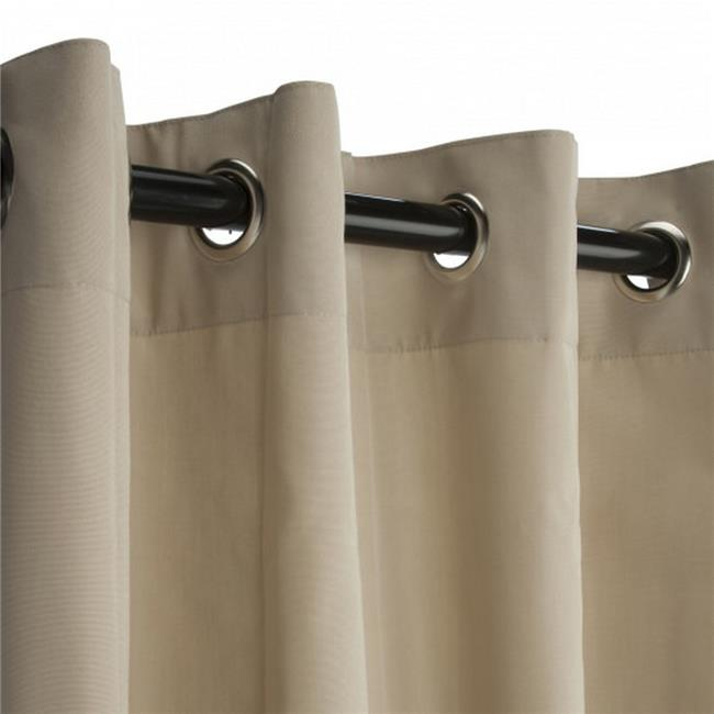 Hammock Source CUR108ABGRS-N 50 x 104.5 in. Sunbrella Outdoor Curtain with Nickel Plated Grommets, Antique Beige