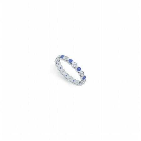 Platinum Sapphire Eternity Band (Diamond & Blue Sapphire Eternity Band Platinum, 1.00 CT - Size 8.5)