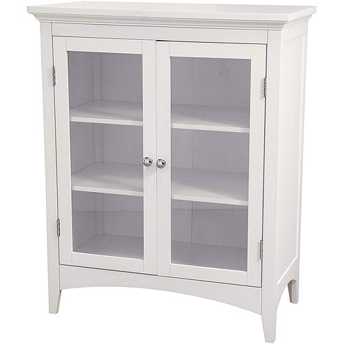 Captivating Classy Collection Double Door Floor Cabinet, White
