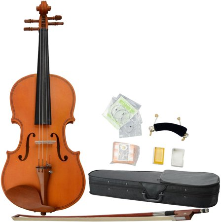 Glarry 1/2 1/4 3/4 1/8 4/4 Antique Solid Wood Handmade Matt Violin for Beginners + Case + Bow + Rosin + Strings + Shoulder Rest +
