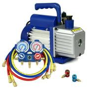 ZENSTYLE Combo 3,5CFM 1/4HP Air Vacuum Pump HVAC + R134A Kit AC A/C Manifold Gauge Set
