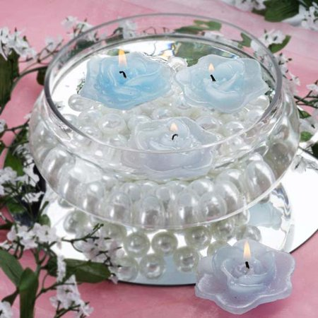 Efavormart Set of 4 Unscented Floating Rose Candle for Wedding Party Birthday Centerpieces Home Decorations Supplies ()
