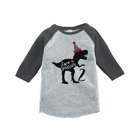 7 ate 9 Apparel Two Second Birthday Dinosaur Grey Baseball Tee - 4T