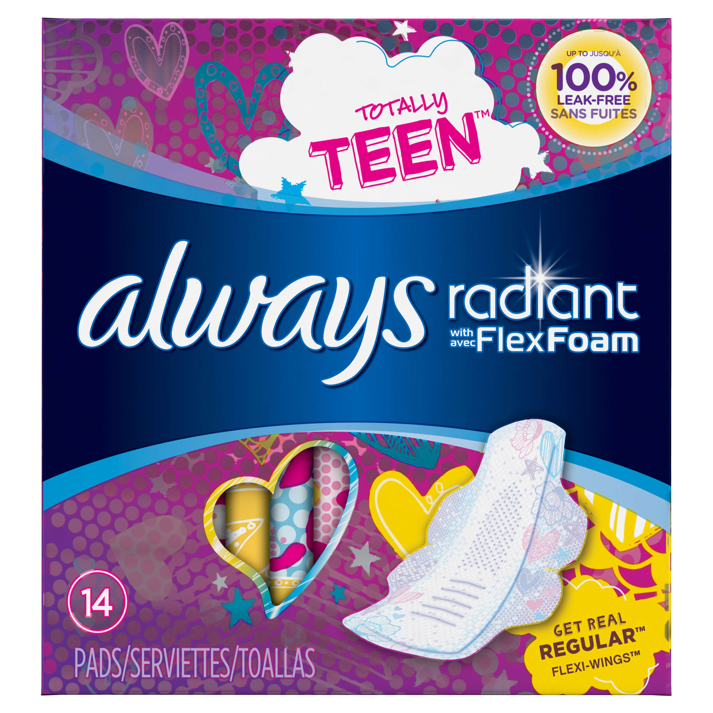 Always Radiant Teen Regular Pads With Wings Unscented 14
