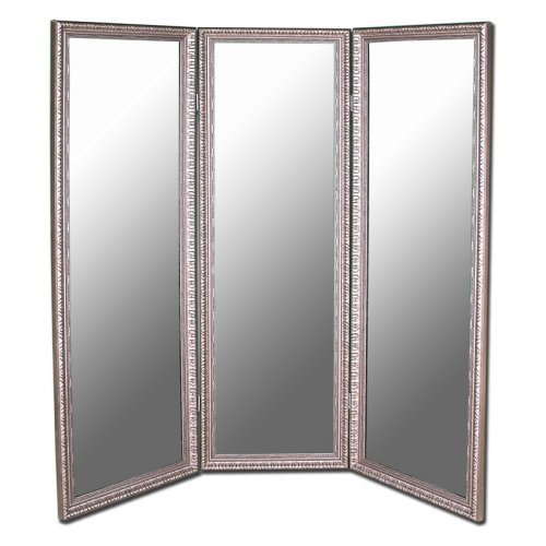 Antique Silver Full Length Free Standing Tri-Fold Mirror- 66W x 70H in.