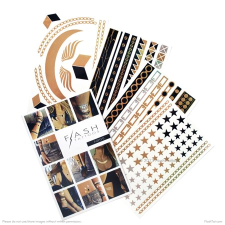 Flash Tattoos Nikki metallic gold, silver and black jewelry tattoo pack, 4 sheets, over 31 metallic temporary tats](31 Dollar Halloween Tattoos)