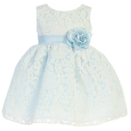 Little Girls Light Blue Floral Tulle Easter Dress - Girls Light Blue Dress