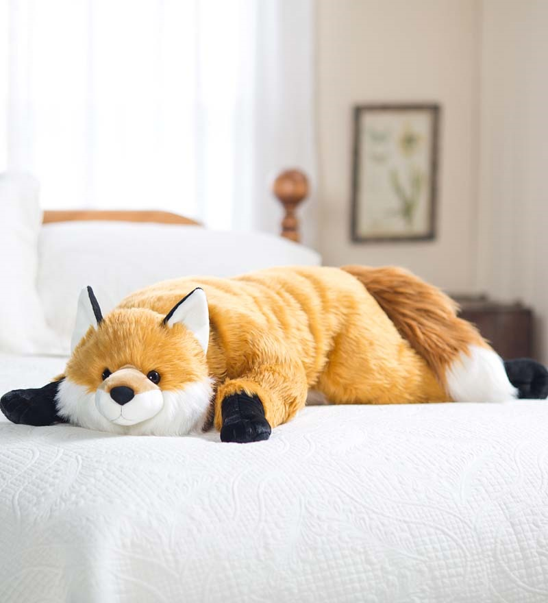 Fuzzy Fox Giant Plush Body Pillow with Soft Dense Fur & Weighted Paws