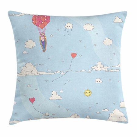 Unicorn Party Throw Pillow Cushion Cover, Flying Horse with Heart Balloons Childish Cartoon Girly Design, Decorative Square Accent Pillow Case, 18 X 18 Inches, Pale Blue Multicolor, by Ambesonne (Flying Heart)