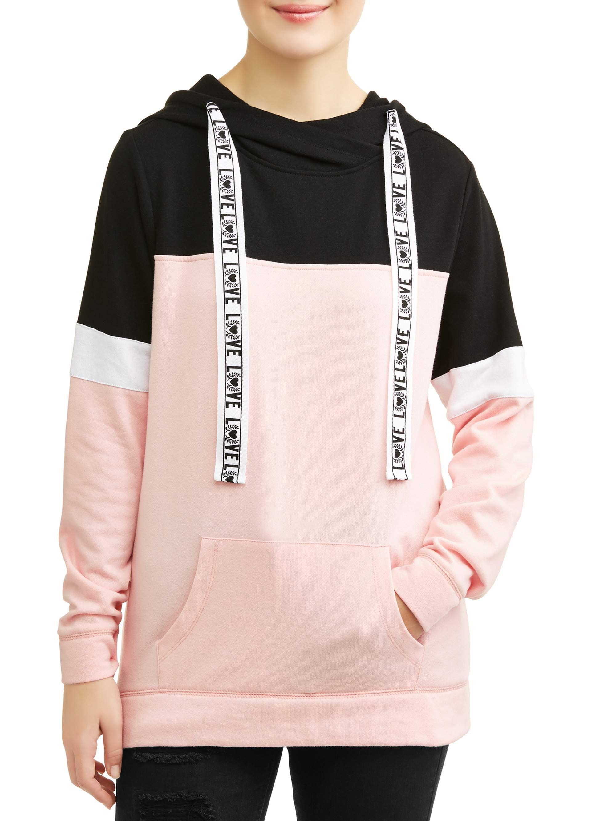 Juniors' Colorblocked Varsity Stripe Pullover Hoodie
