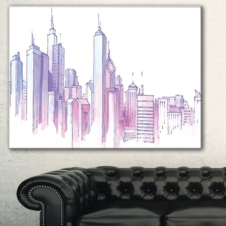 DESIGN ART Purple City Skyline' Cityscape Painting Canvas Print - multi (Cityscape Art Painting)