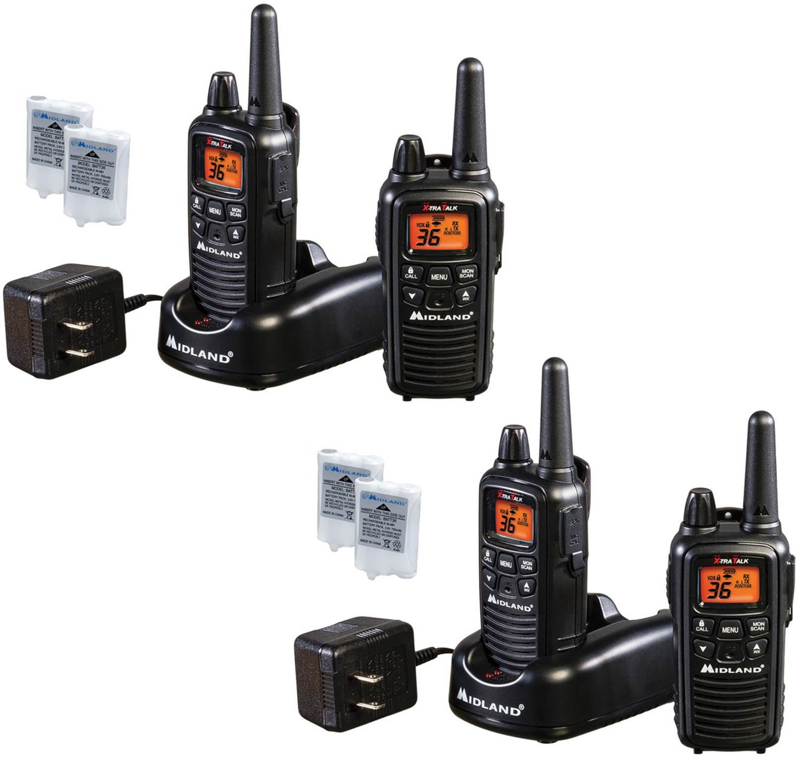 Rechargeable Walkie Talkie 30 Miles Midland LXT600VP3 Xtra Talk Handheld Two Way Radios 4 PACK 36 CH