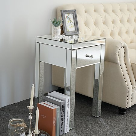 Topcobe Modern 1 Drawer Mirrored Nightstand, Bedside Table for Bedroom