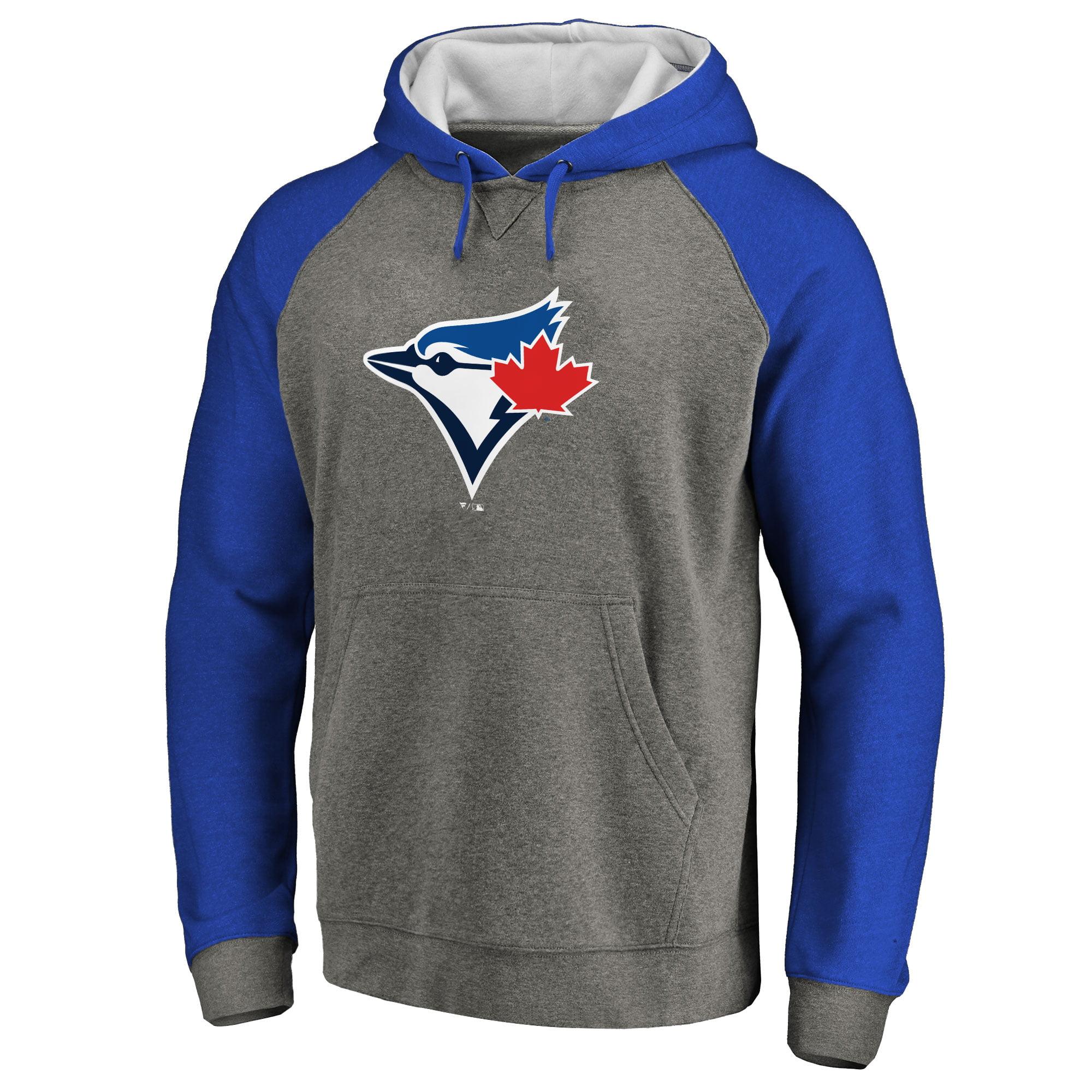 Toronto Blue Jays Primary Logo Raglan Sleeve Tri-Blend Pullover Hoodie - Ash