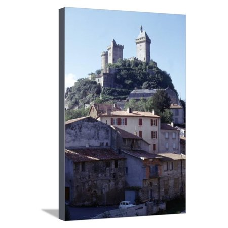 French Chateau House (Chateau de Foix and old houses, Foix, France, c20th century Stretched Canvas Print Wall Art By CM)
