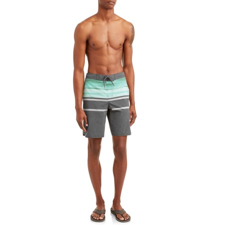 George Men's Painterly Stripe 9-Inch Eboard Swim Short With Dolphin Hem, up to size (Mens Swimsuits)