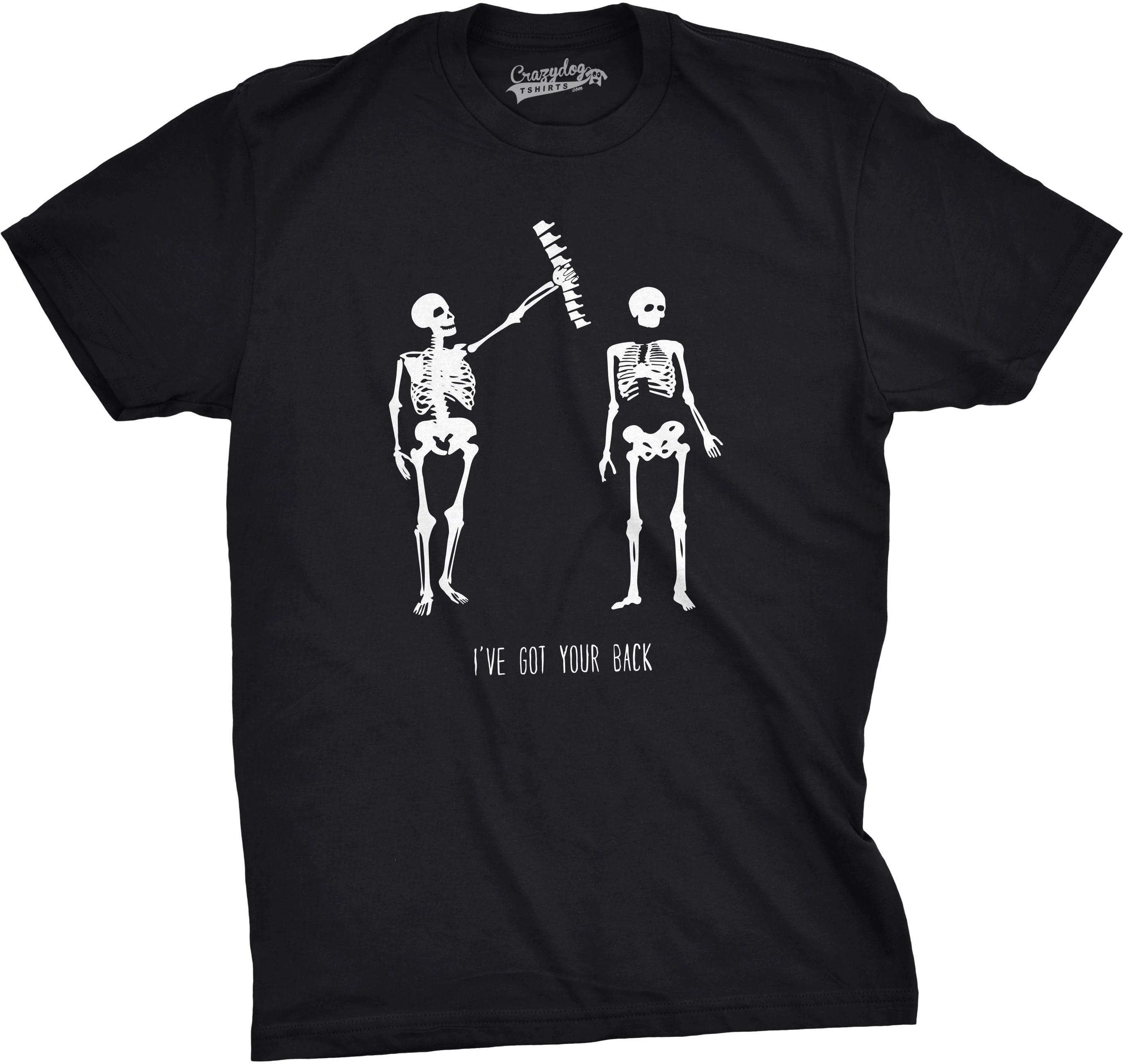 crazy dog funny t-shirts - mens got your back funny skeleton best