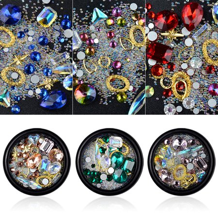 BEAD BEE 6 Boxes 3D DIY Gemstone Mix Nails Art Rhinestones Decoration Glitter For