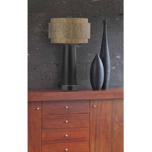 AF Lighting Aviva Table Lamp with Cork Shade, Black Pearl