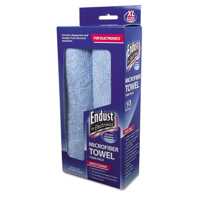 Large-Sized Microfiber Towels Two-Pack, 15 x 15, Unscented, Blue, 2/Pack, Sold as 1 Package, 2 Each per Package