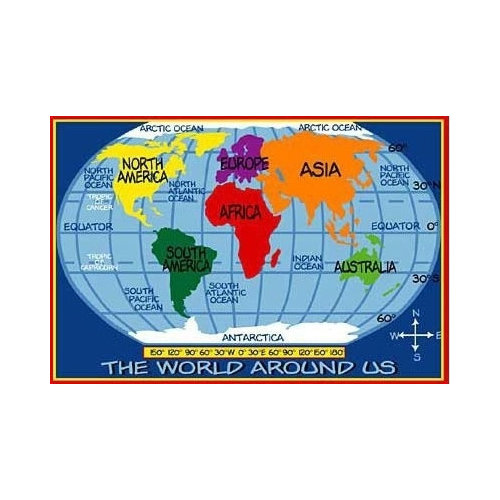Fun Rugs Supreme Kids World Map Classroom Blue Area Rug