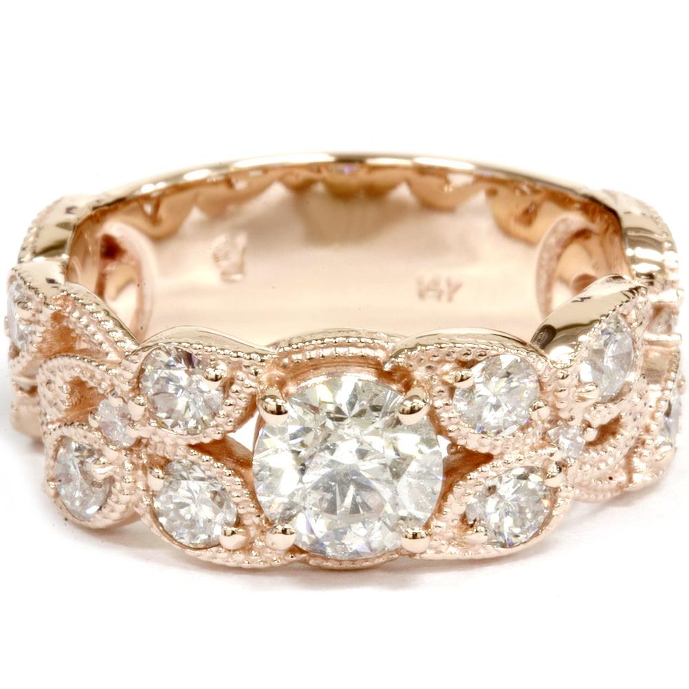 2ct Vintage Rose Gold Diamond Engagement Ring 14K by Pompeii3