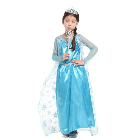 Girls' Ice Princess Ela Dress-Up Costume Set with Fairy Wand, L