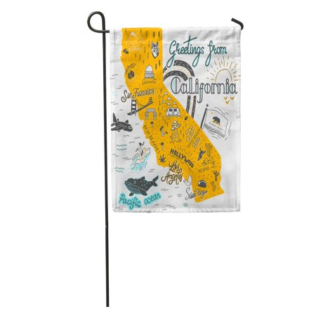LADDKE San of California Map Tourist Attractions Travel Francisco Flag Hand Garden Flag Decorative Flag House Banner 12x18