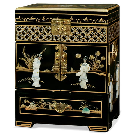 China Furniture and Arts Jewelry Cabinet, Black Lacquer with Chinese Mother of Pearl Maidens