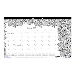 Blueline® DoodlePlan™ Monthly Coloring Desk Pad, 17 3/4