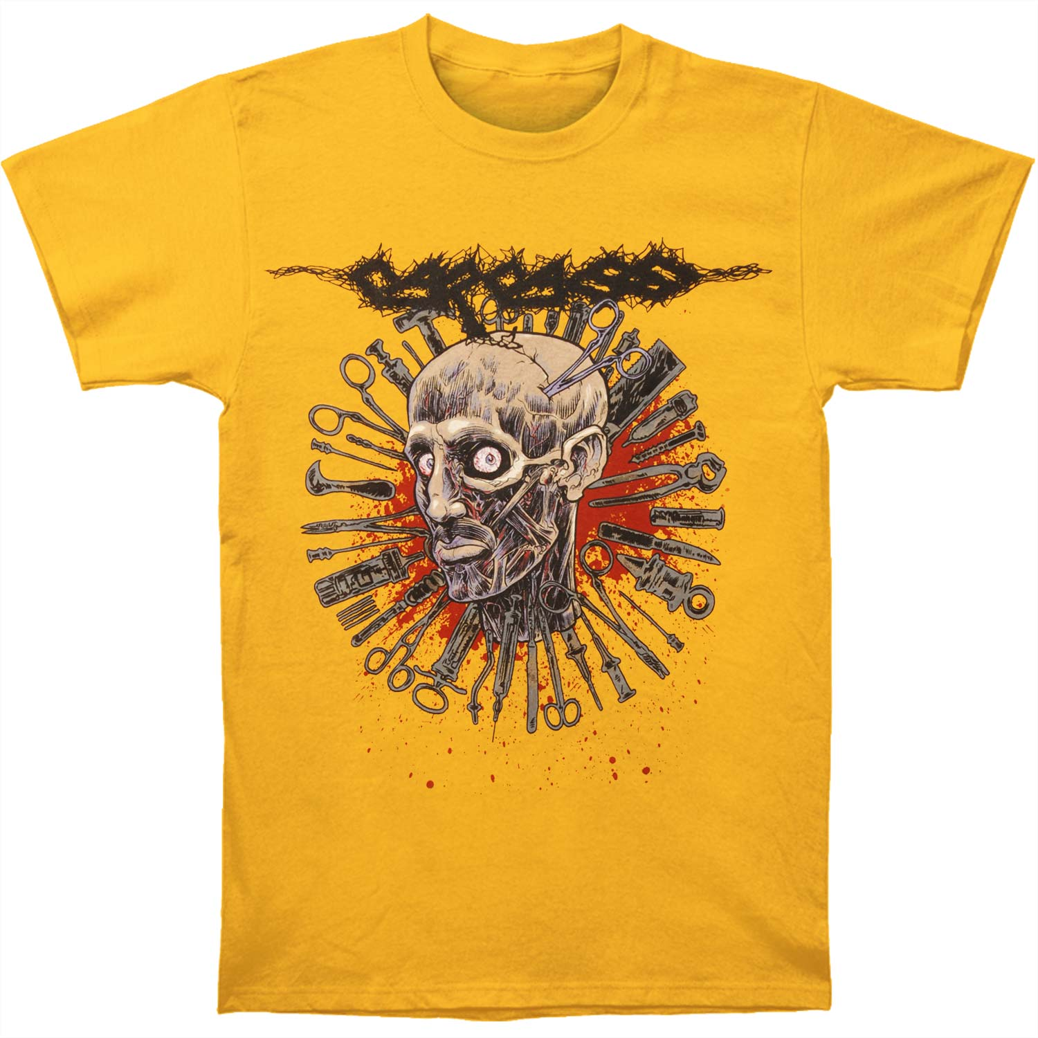 Carcass Men's  Head One Foot 2016 Tour Dates T-shirt Yellow
