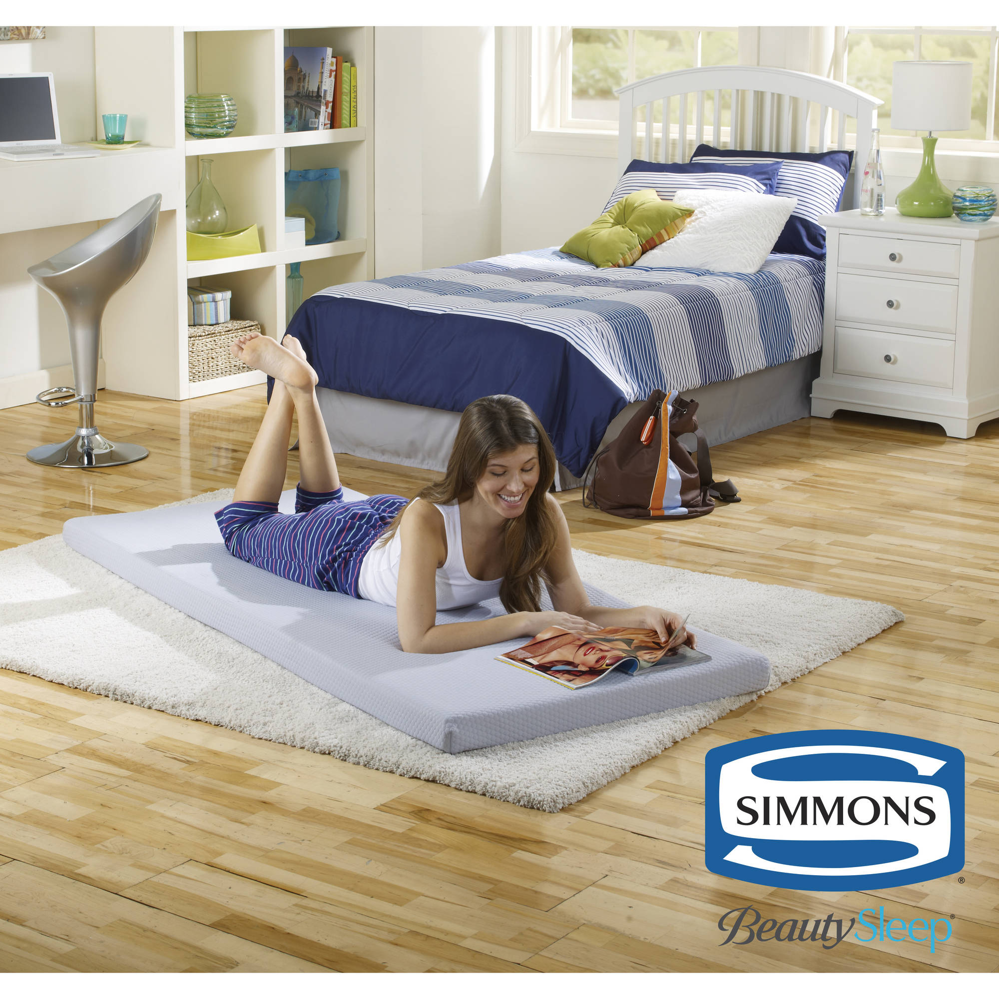 simmons beautysleep siesta twin memory foam guest rollup extra portable mattress bed image 1
