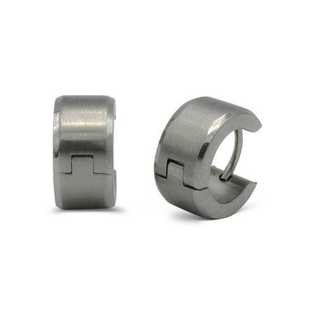 Silver Huggies Earrings (BEBERLINI Huggies Hoop Earrings Stainless Steel Fashion Jewelry Fancy Silver Wide Stripes Design Earring Men Women )