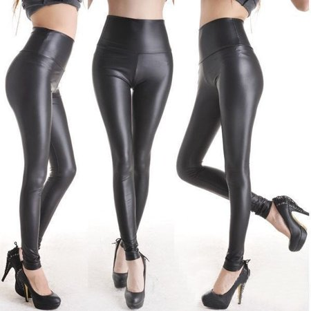Sexy Women Matt look high waist Stretch faux leather Slim pants leggings Sexy Leather Hot Pants
