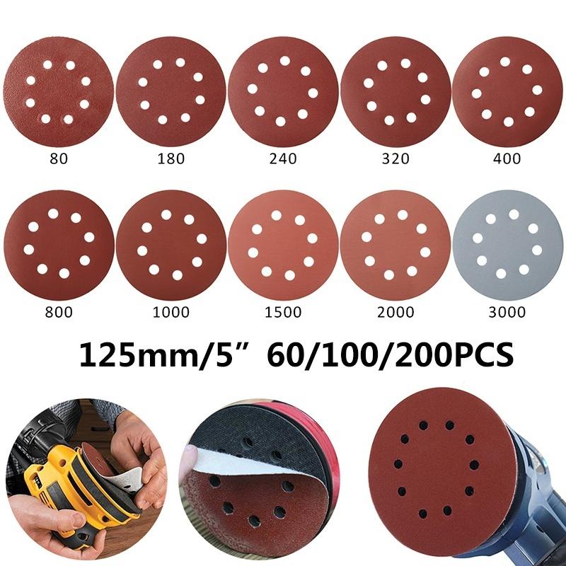 AMIGOB 100 PCS 125 mm Circulaire Disque de Pon/çage 180//240//320//400//600//800//1000//1200//1500//2000 Papier Id/éal pour Poncer//Polir//D/érouiller
