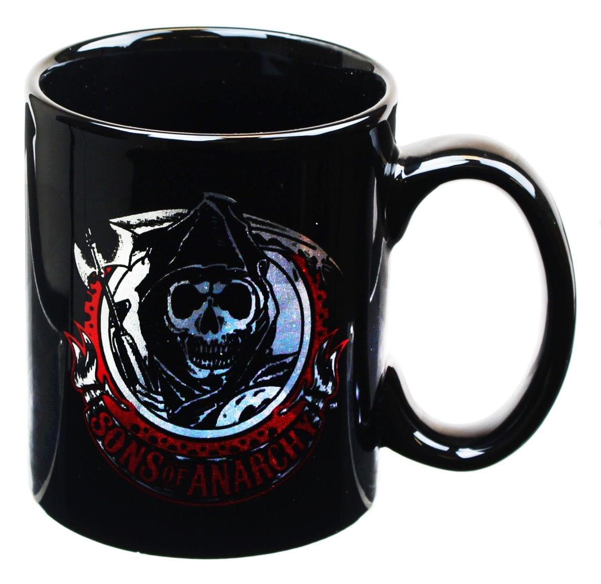 """NEW Sons of Anarchy TV Series Name and Reaper Logo Clear Glass 6/"""" Beer Mug"""