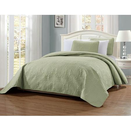 Fancy Linen 3pc King/California King Embossed Oversized Coverlet Bedspread Set Solid Light Green New # Austin