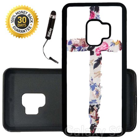 Cute Black Teen (Custom Galaxy S9 Case (Teen Fashion Rose Cross Cute) Edge-to-Edge Rubber Black Cover Ultra Slim | Lightweight | Includes Stylus Pen by)
